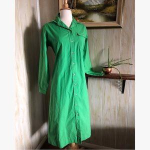 Vintage 1960's Kelly Green Button Down Shirt Dress